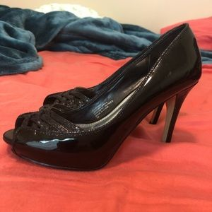 WHBM black patent leather peep toe heels sz 7M